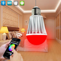 IOS &Android 2.4G RF remote smart bulb wifi control vtac led red type six led bulb