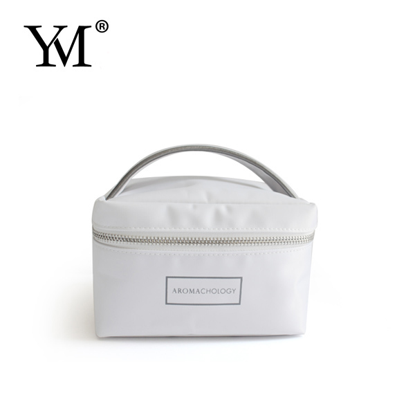 hot sale portable handle white nylon cosmetic bags cases for makeup