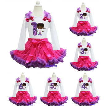 Hot Pink Purple Pettiskir Bling Purple Number 1 2 3 4 5 6 Embroidered Doc McStuffins Birthday Party Dress