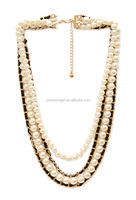Faux Pearl and Woven Necklace