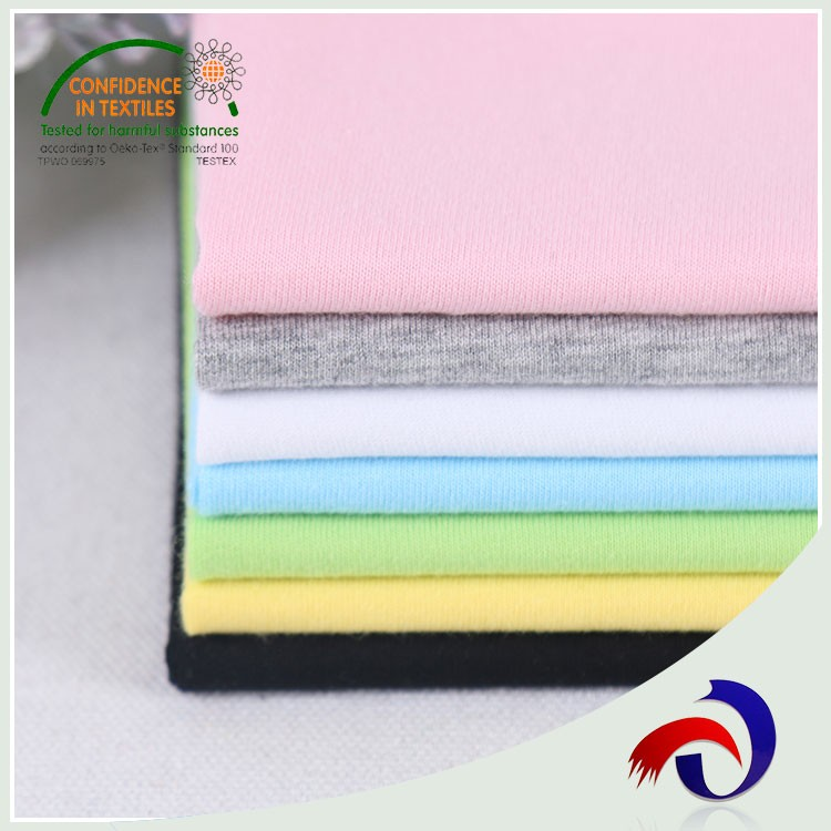 Soft Child clothes combed plain dyed 100 cotton fabric for t shirt