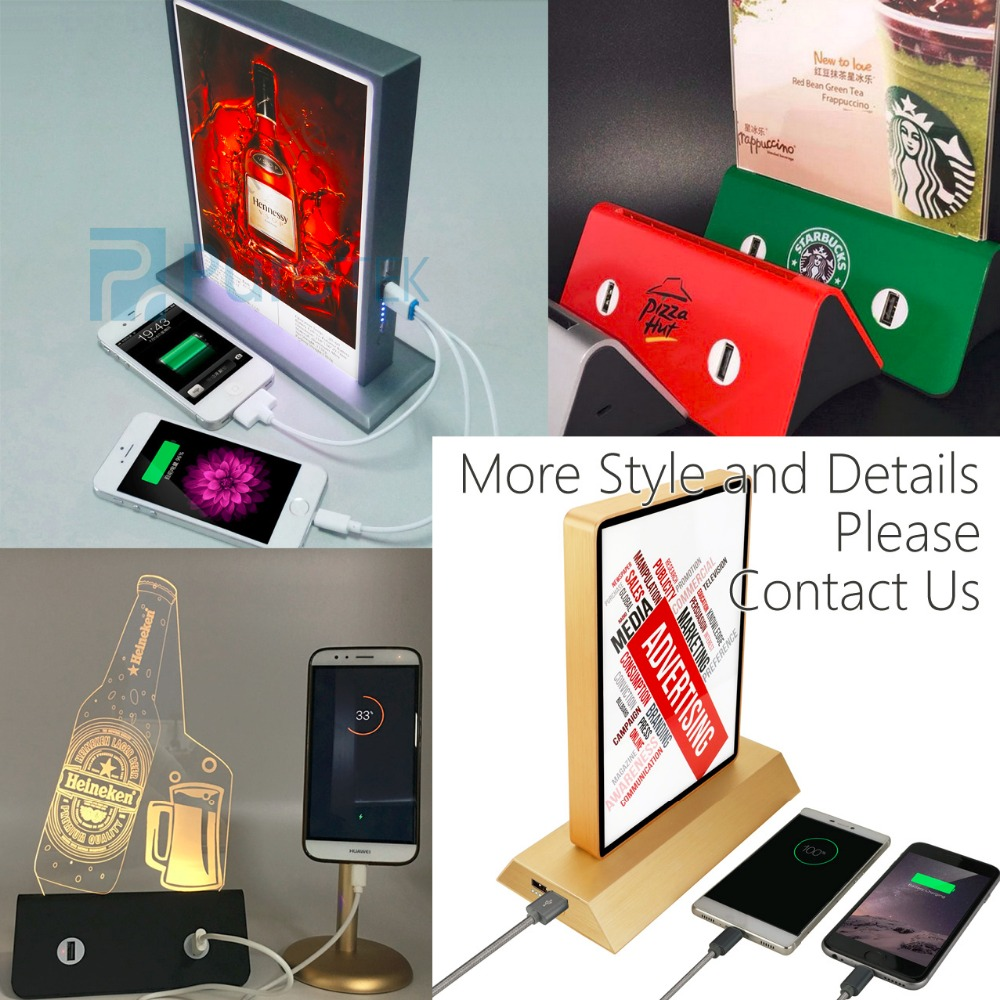 Restaurant Power Bank 20000mAh, Menu power bank Charger with LED board for Samsung Galaxy S8 and iPhone 8