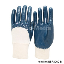 NMSAFETY blue nitrile coated interlock cotton liner industrial work glove