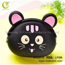 Good Quality Fashion Cute Colored Silicone Pocket Black Cat Kitty Coin Bag Women's Mini Coin Purse