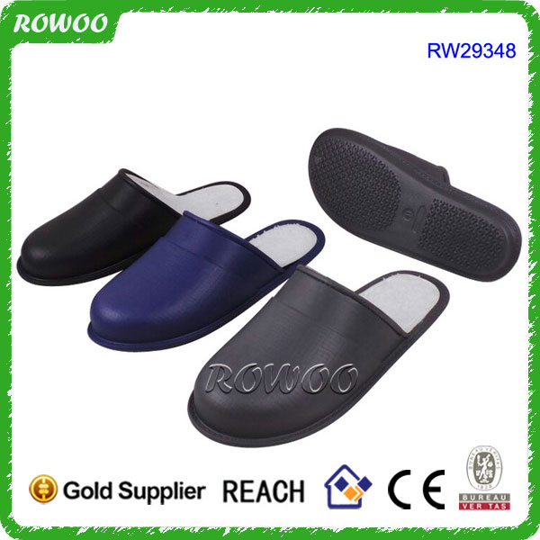 Winter high quality Leather house and hotel slippers