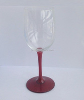Wine glass with colored stem, yellow champagne glass, red wine glass