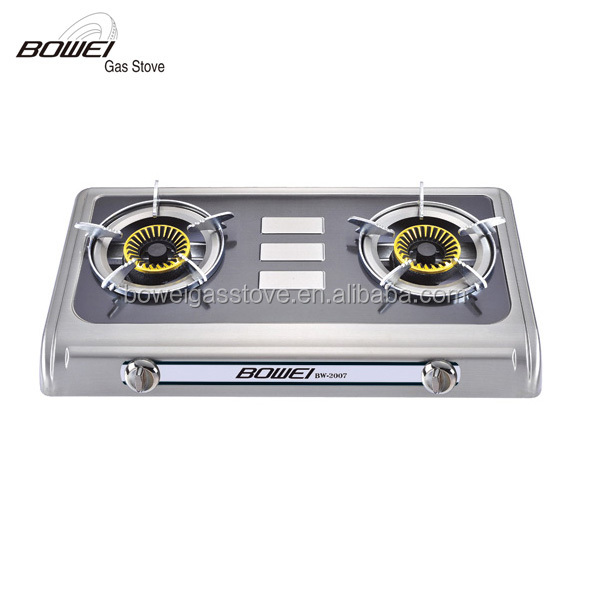 Commerical Stainless Steel Gas Stove Tabletop 2 Burner Hobs Gas Burner Cast Iron