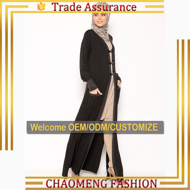 9053# Alharam Muslim Black Kimono Cardigan With Hat Long Abaya Women Islamic Clothing