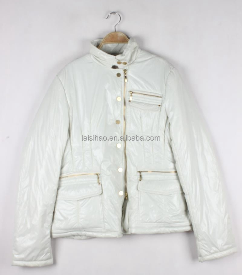 White color women garment winter padded jackets for women wholesale cheap price