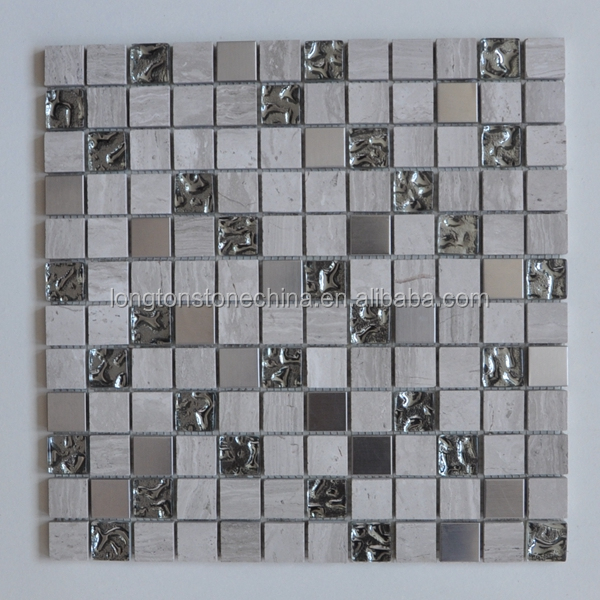 Glass Mosaic Tile Stainless Steel Mixed Stone Mosaic for Kitchen Backsplash Tiles High Quality Bathroom Tiles Luxury Wall Paper