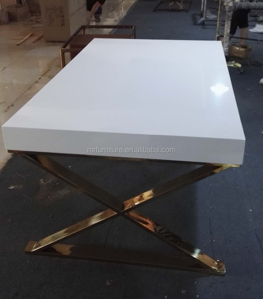 Event Wedding Gold Stainless Steel Base High Glossy White Wooden Top Dining Table