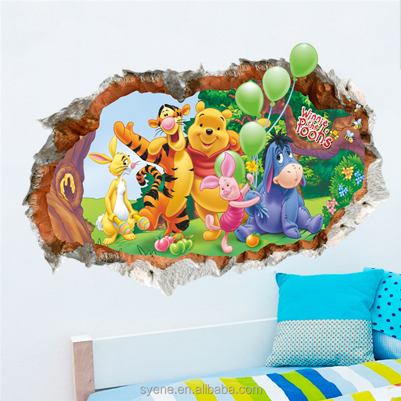Syene room decor 5d wall stickers cartoon character winnie the pooh window wall stickers room decor 3d wall stickers decal kids