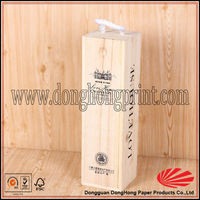Custom logo printed wine packaging sliding lid wooden box with rope handle