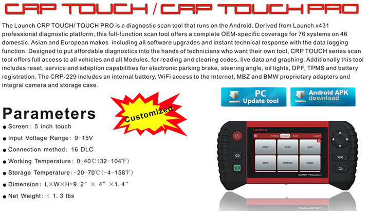 Newest 5 Inch Based on Android Oil light Resets Launch crp touch pro from China