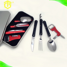 4pcs camping utensil stainless steel knife fork and spoon travel set with beer opener
