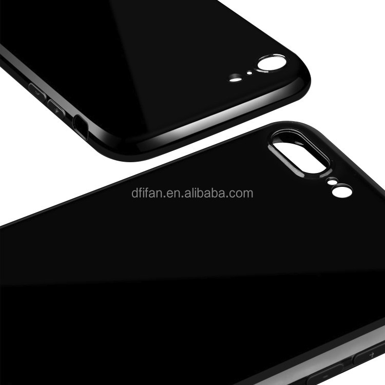 DFIFAN For iPhone 7 Black Cell Phone Cases,Super Thin Plain Bright Black Phone Cases for iphone 7 plus