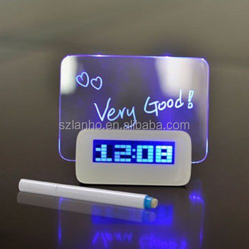 LED Light Fluorescent Message Board Digital USB HUB Wall Alarm Clock Calendar