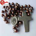 2017 Simple design new alloy zinc pendant glass round bead rosary necklace