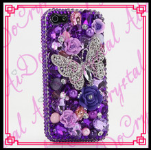 Aidocrystal Purple Crystals Diamond Sparkle bedazzled jeweled Cases Cover for iPhone 6 Bowkont Flower Decor Cell phone Case