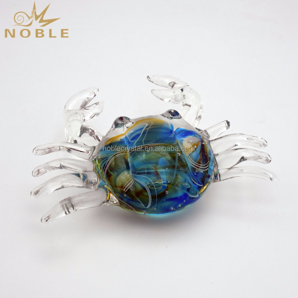 Vivid Colorful Hand Blown Glass Crab Figurine Animal Decoration Pieces