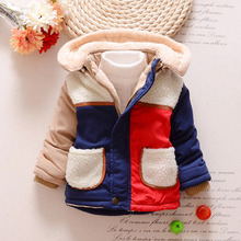 TC11026 2016 new style thick winter fur hooded baby boys coat rich cotton baby boys padded coat