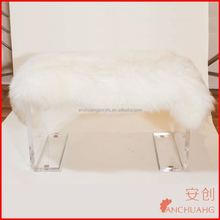 fur living room bench with acrylic legs