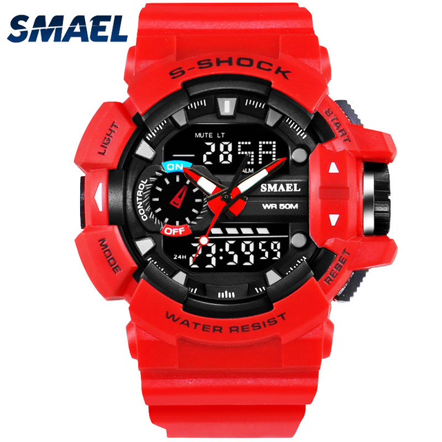 Men's Digital Analog Sports Military Stylish Watches Waterproof Outdoor Electronic LED Backlight Display cheap Stopwatch (Blue )
