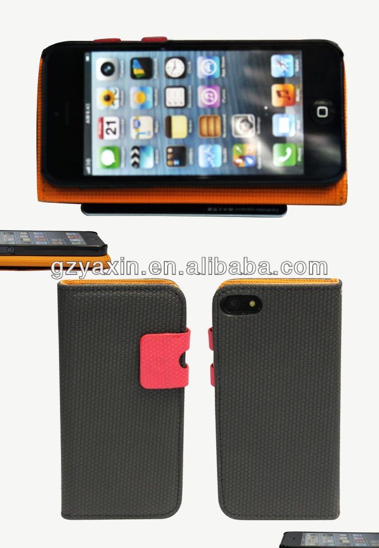 Fancy Cheap official leather flip case for Iphone 5/5s,official leather case for iphone 5