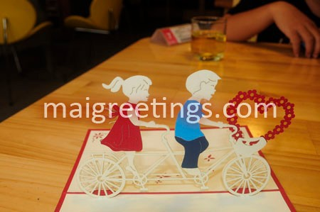 Love Valentine 3D Pop up Kirigami Cards Couple On Bicycle