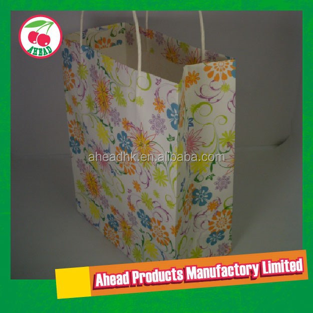 Large floral pattern White Kraft Paper shopping bag