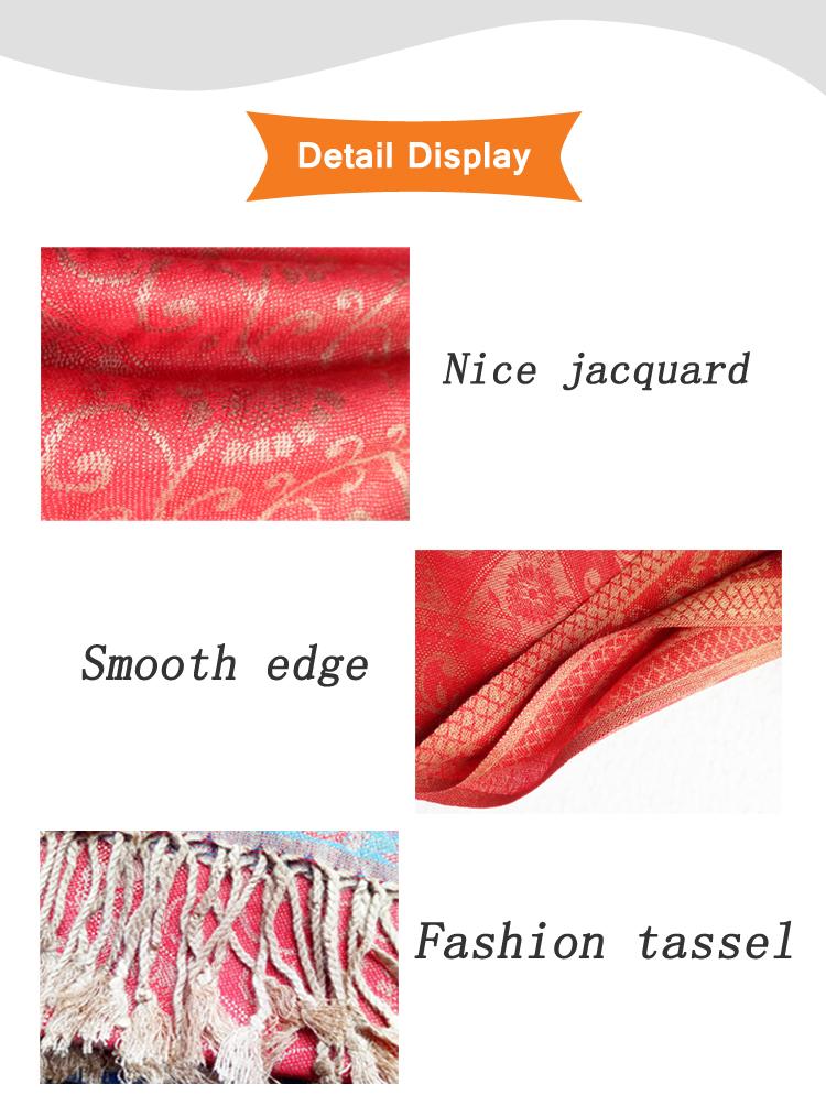 Cheap promotion turkish jacquard pashmina shawls china factory