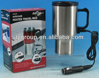 12 v Heated Stainless Steel 14 oz Travel Auto Mug Coffee thermos with car heater