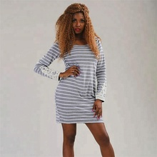 Women fashion long sleeve stripe summer cotton short dress