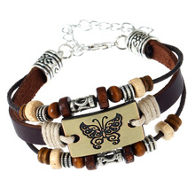 Charm butterfly pattern punk leather bracelet Yiwu wholesale