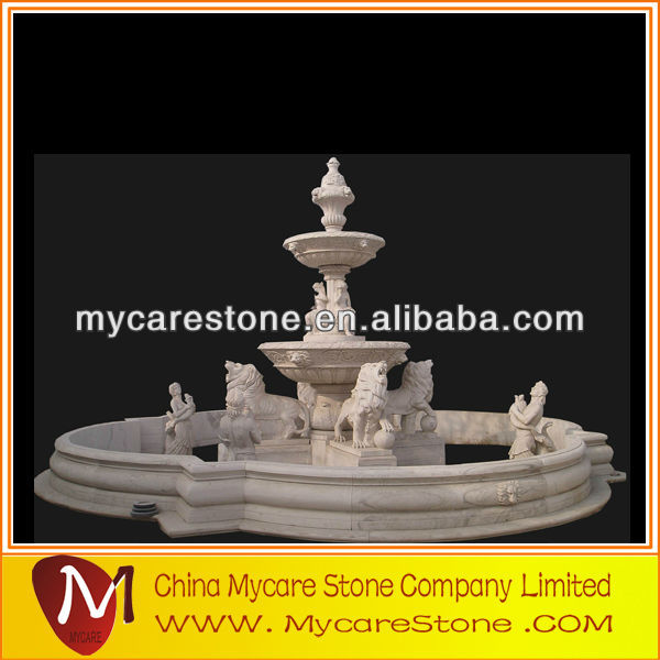 Garden marble water fountain sale with statues and lion
