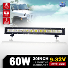 Real 5W led chip !! Wholesale led light bar 60w, 20'' single row led light bar, 12 volt led light bar for Jeep/Car/Truck