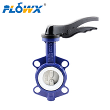 Chinese Supplier 6 inch Manual Handle DI PTFE Wafer Type Price butterfly valve