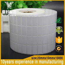 High quality adhesive coated art paper 20X10mm 80g,QR code labels and heat seal barcode labels