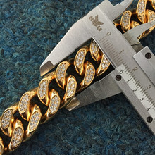 Iced Out CZ Micro Pave Diamond Miami Cuban Link Gold Chain