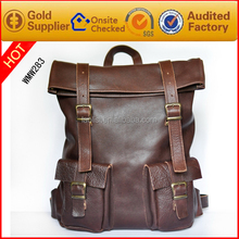 Guangzhou wholesale fashion leather laptop bag backpack leather for men
