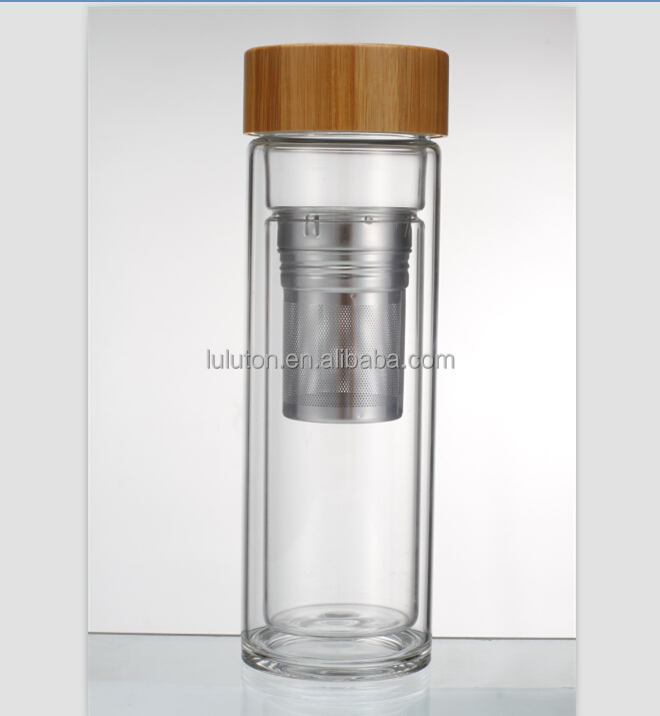 bpa free Office Drinking Glass Water Bottle With Bamboo Top