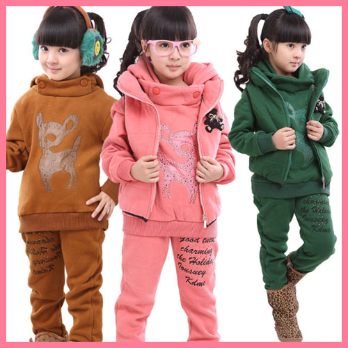 ta15007 factory wholseale winter kids clothes plus thick and velvet three-pieces kids clothes set