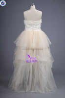 2015 Tulle Fabric T-W0018 Sweetheart Beaded Front Short Long Back Short Wedding Dresses