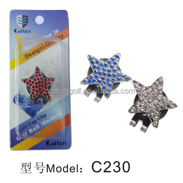 Crystal star golf clip golf ball marker C230