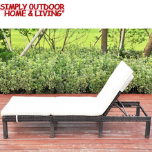 Wholesale Confortable Position Black Cushions Patio Lounge Wicker Synthetic Rattan Plastic Sun Lounger