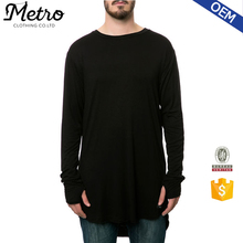 Fashion Plain Long Sleeve Dipped Hem Mens Loose T-shirts