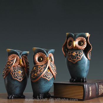 Three lovely owl polyresin antique owl statues