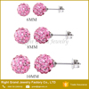 Pink Shamballa Crystal Ball Stainless Steel Stud Earrings