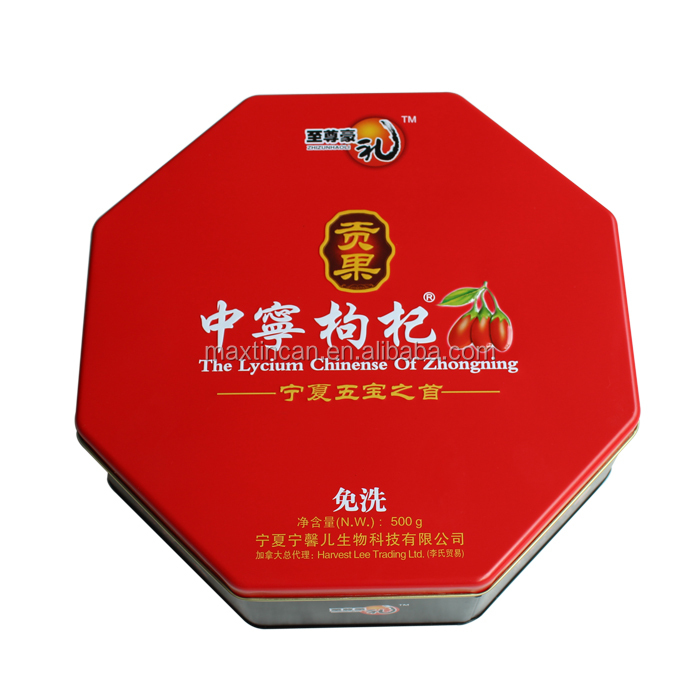New years octangle shape cookies tin box