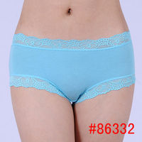 Hot soft lace trimebamboo fiber women boyshort one size young lady underwear women boyleg lady panties hot lingeriesexy intimate